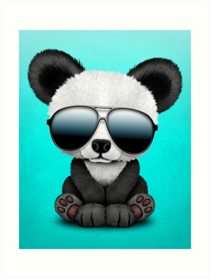 'Cute Baby Panda Wearing Sunglasses' Art Print by jeff bartels #babypandas This adorable design by artist Jeff Bartels features a small baby panda bear wearing large aviator sunglasses. The over sized features along with the details in the fur create a unique combination of a cartoon and realistic look. This cool and cute panda design is perfect for all animal lovers. • Millions of unique designs by independent artists. Find your thing. #babypandas