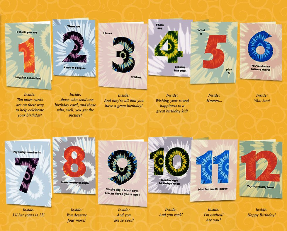 Set Of 12th Birthday Cards That Count Up To A Boy Or Girls Big