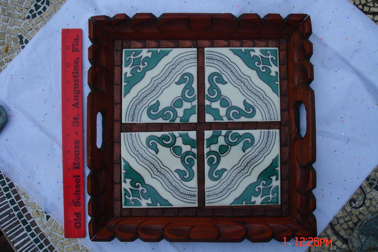Vintage hand carved wood and ceramic tile tray boho chic by vintage hand carved wood and ceramic tile tray boho chic by daisvintagetreasures on etsy dailygadgetfo Images