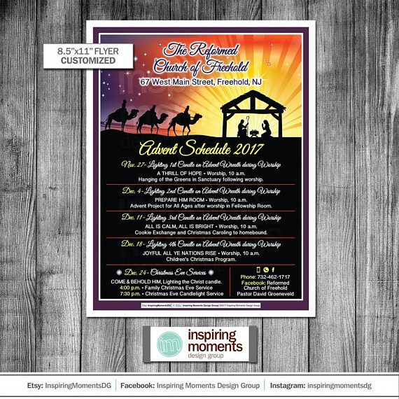 Advent Schedule Flyer Printable Religious Church Christmas