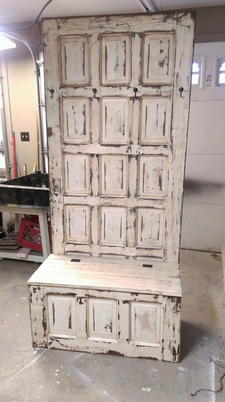 Photo of SALE Hall tree – wooden door hall tree – repurposed door – entryway bench – entryway storage bench – coat rack – shabby bench – mud room ben