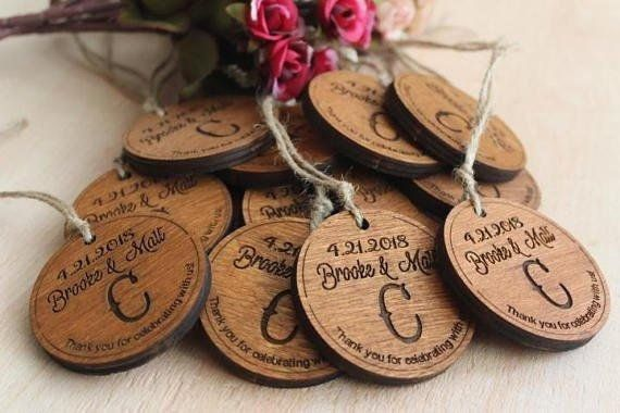 Thank You Wood favors Wooden Heart Wedding Favors   Rustic Wedding