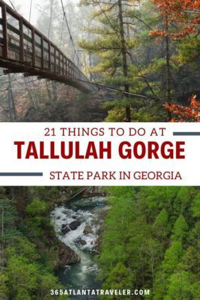 21 Things Every Family Should Do At Tallulah Gorge State Park in Georgia.  It's just an amazing place — two miles long, and almost 1,000 feet deep!  And one of the things I love most about this place, is that if you don't feel like hiking all the way down to the bridge or the gorge floor, the views from the more easily-accessible overlooks are just as gorgeous. Check out our favorite things to do in the park, including tips for enjoying the waterfalls, camping, and beautiful scenery. #Georgia