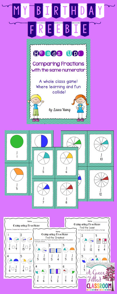 Comparing Unit Fractions Game FREE Fractions, Fraction
