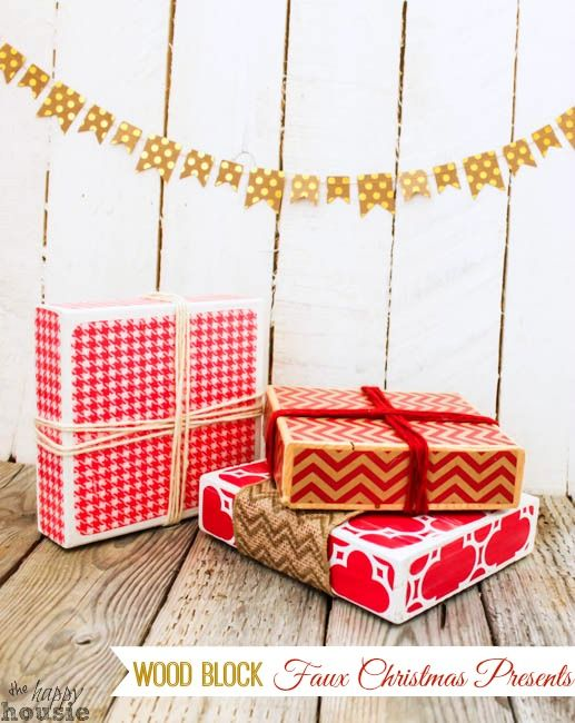 Rustic Christmas Craft Ideas Part - 46: Learn How To Make These Easy And Festive Wood Block Faux Christmas Presents  And Twelve Other Rustic Christmas Décor And Craft Ideas.
