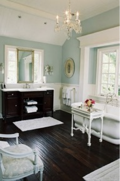 Tiffany Blue Walls And Dark Wood Floors Elegant Home House