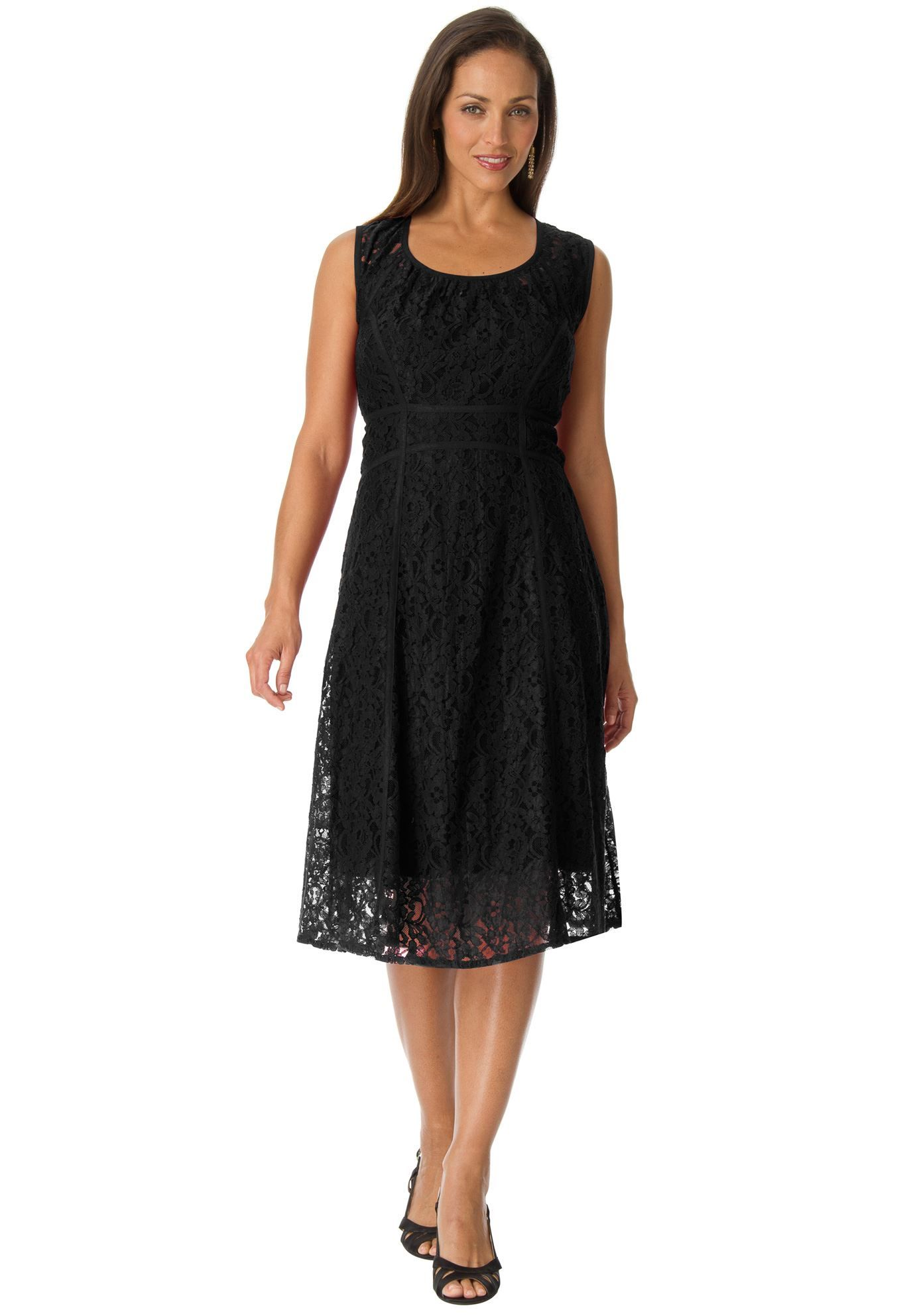 Plus size jessica london flared lace dress black jewelry and