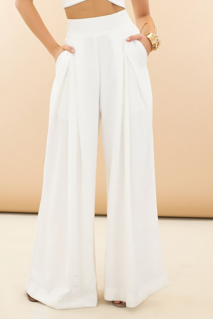 Raya High-Waisted Wide-Leg Pants - White | Pants