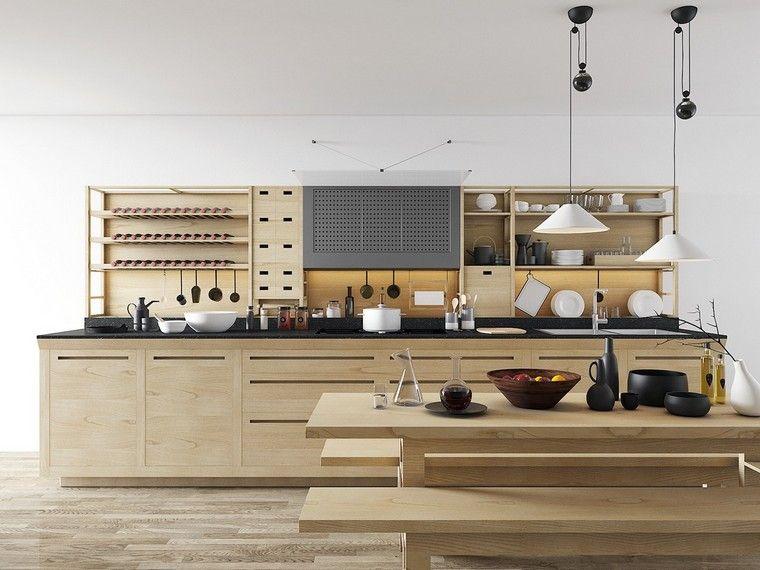 étagères cuisine moderne étagère ouverte ilot bois