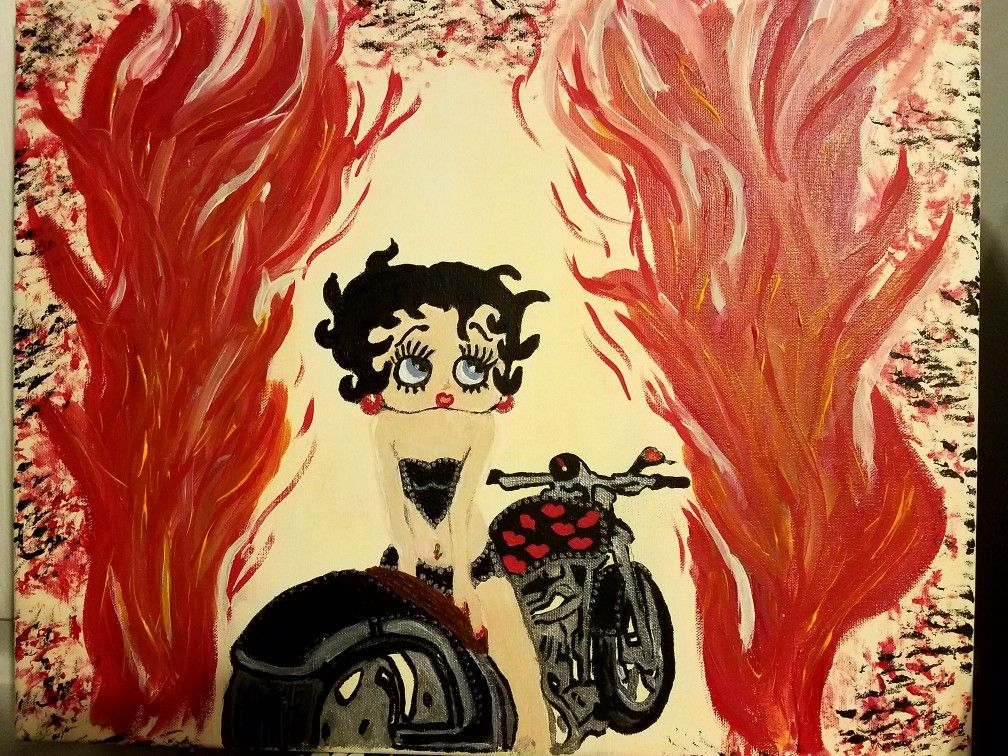 Biker Betty Boop Acrylic painting by tattooedmimi   My art, acrylic ...