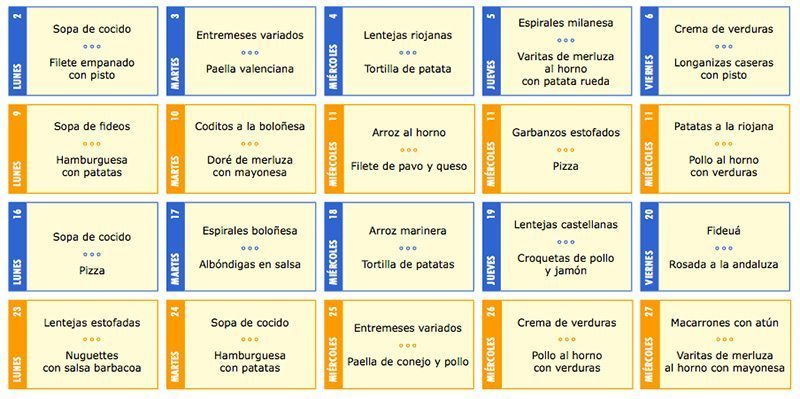 Raising Kids In Spain Spanish School Menu School menu