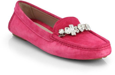 Miu Miu Pink Donna Jeweled Suede Loafers