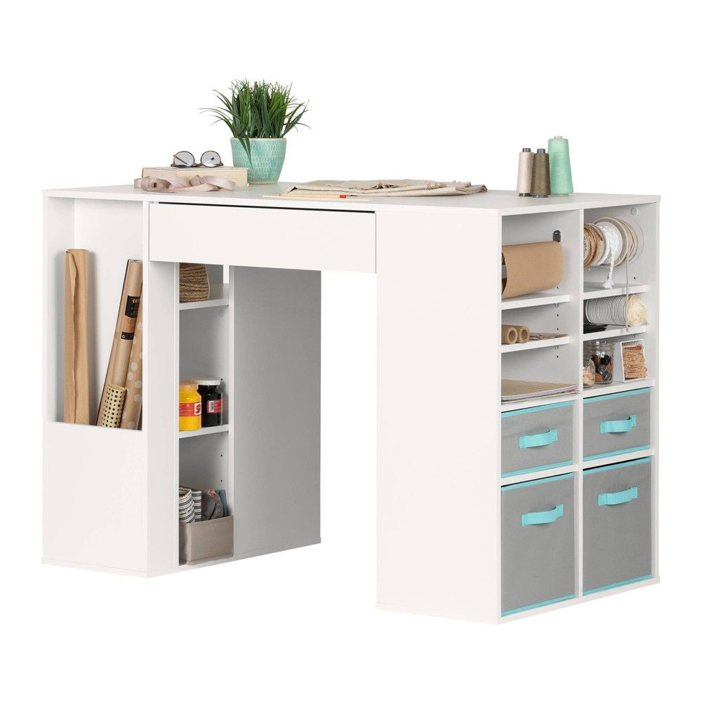 Crea Counter Height Craft Table With Storage White South Shore In 2021 Craft Tables With Storage Craft Room Tables Craft Table