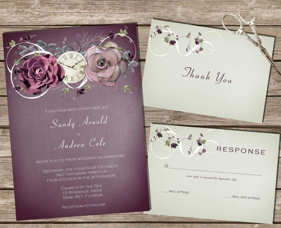 Printable Wedding Invitations Kits: PRINTABLE Wedding Invitation Kit Purple/Sage