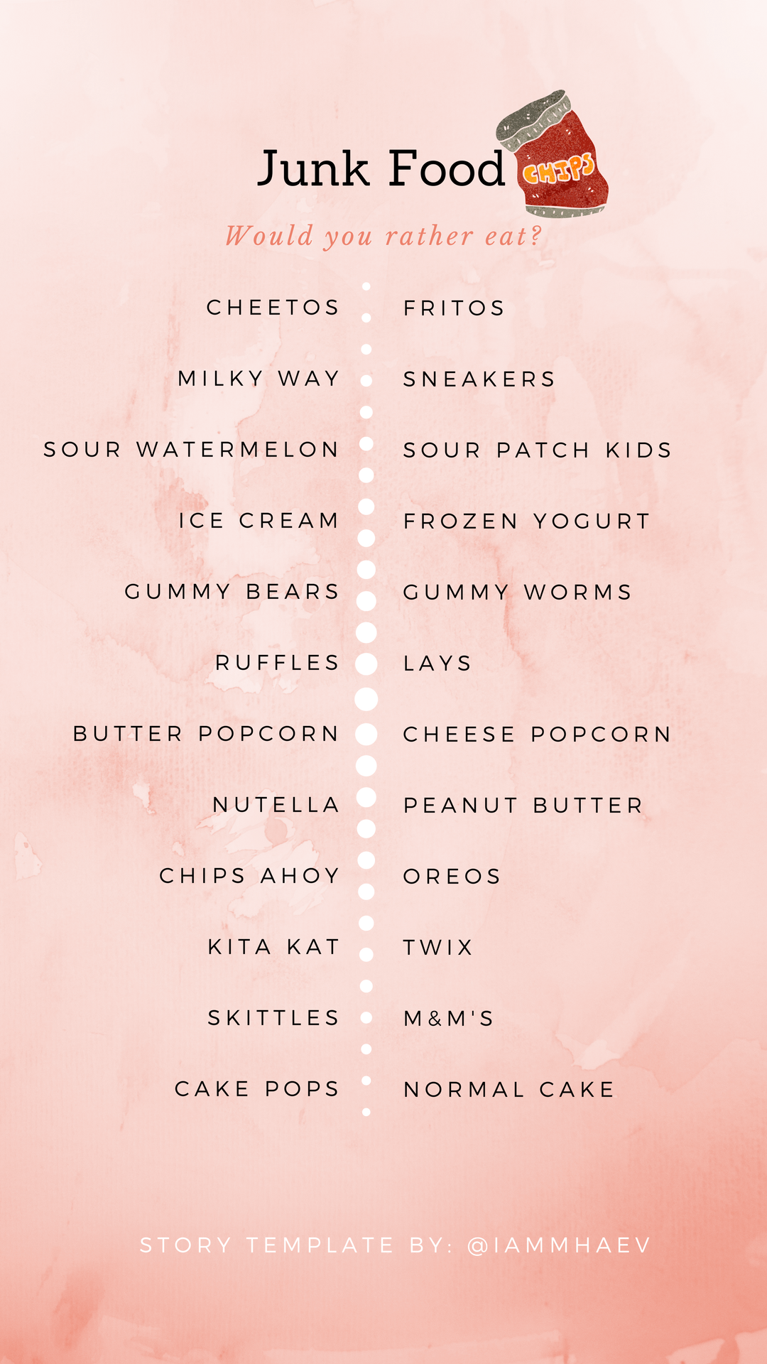 Junk Food (would you rather eat?) Instagram Story Template