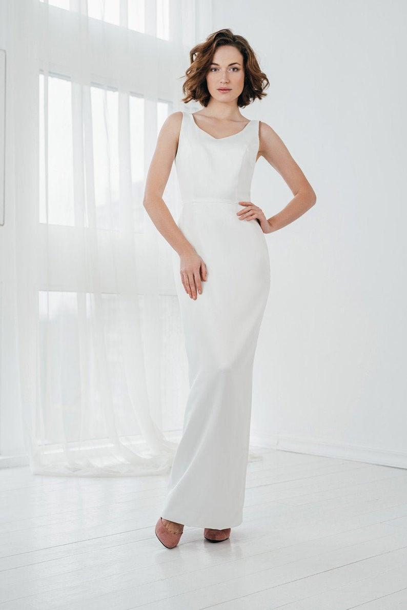 Minimalist Satin Wedding Dress Maxi White Sheath Dress Etsy In 2020 White Sheath Dress Satin Wedding Dress Wedding Dresses