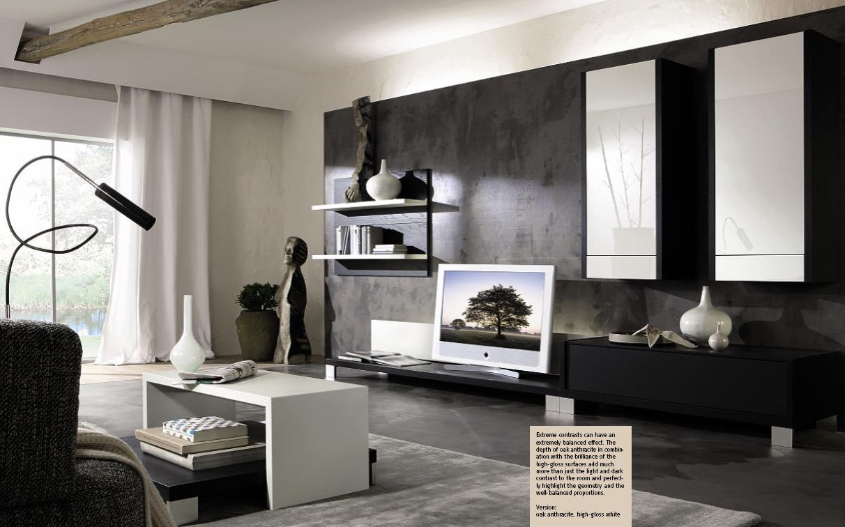 Living Room Furniture In Black And White With Contemporary Tv Unit Grey Carpet Decorating