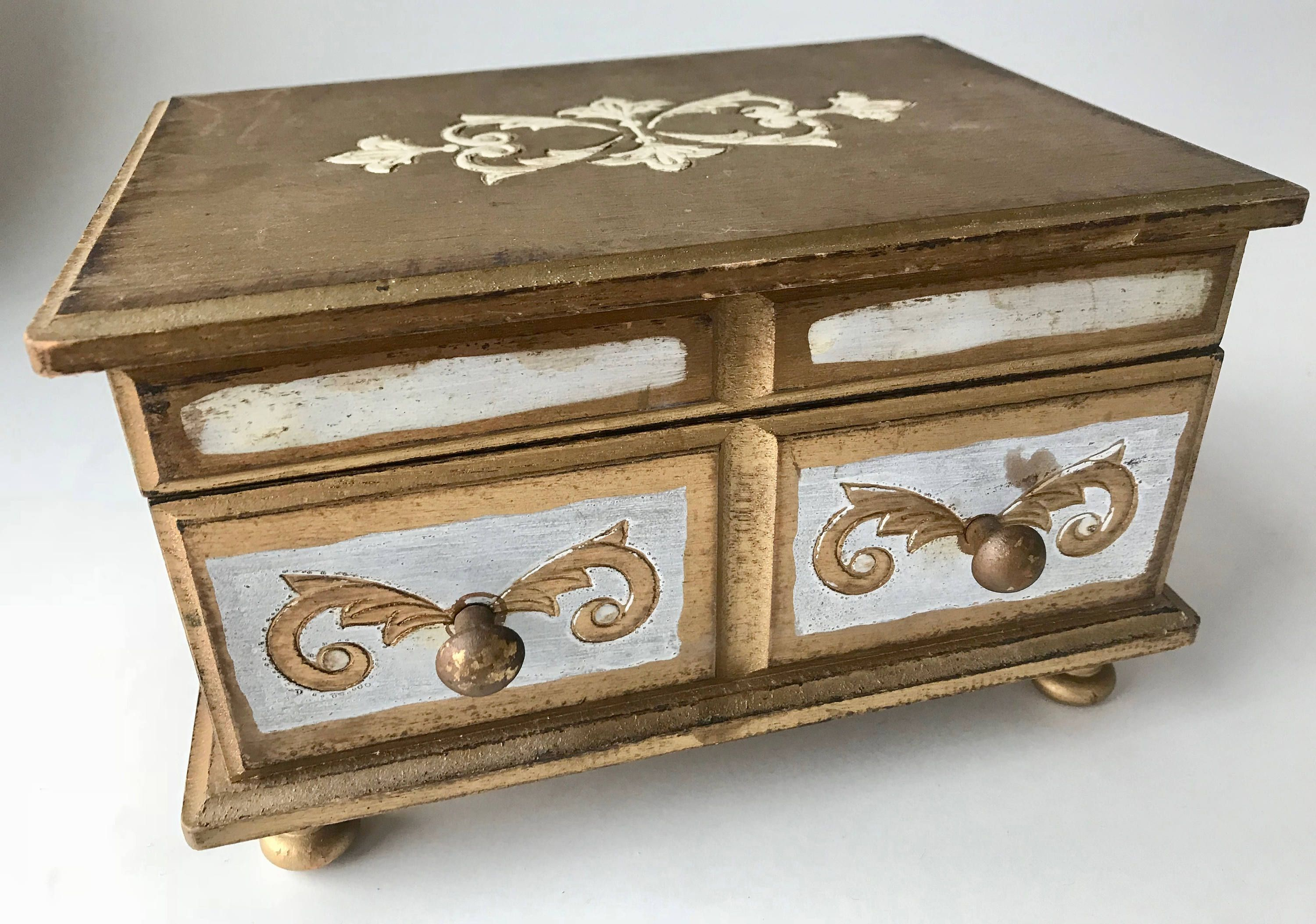 Vintage Japan Music Jewelry Box Footed Solid Wood Distressed Gold
