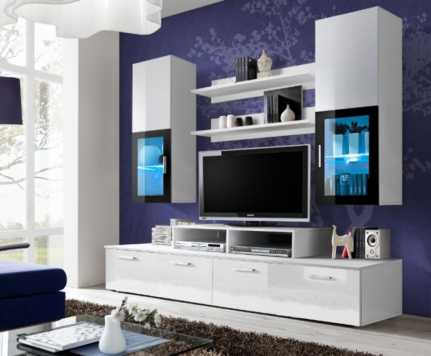 Toledo 1  White High Gloss Wall Unit  Wand Modern Wall Units Pleasing Tv Cabinet Designs For Living Room Design Ideas