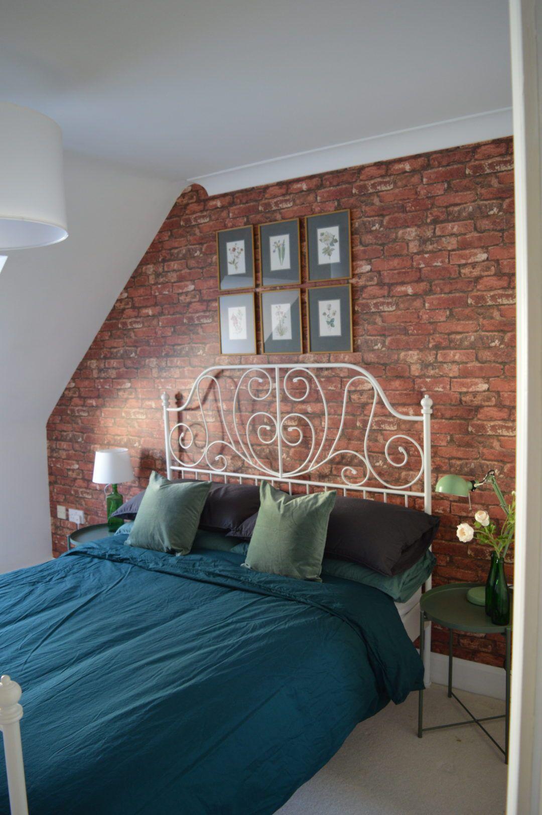 After Master Bedroom Brick Wallpaper Green Flower Ikea Leirvik Bed White Made Pinterest