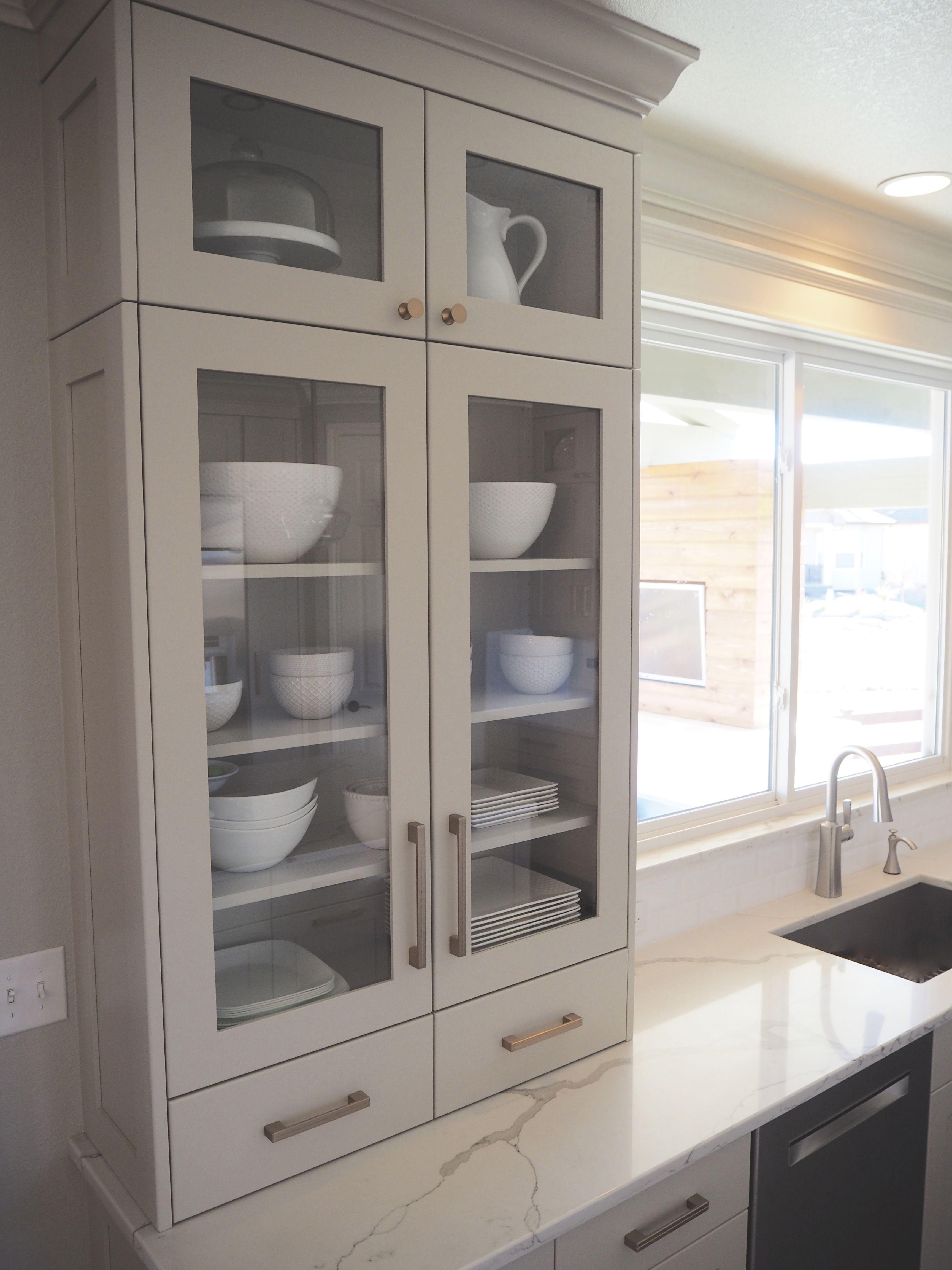 Built In Modern Dish Cabinet Glass Front Shaker Cabinet Revere