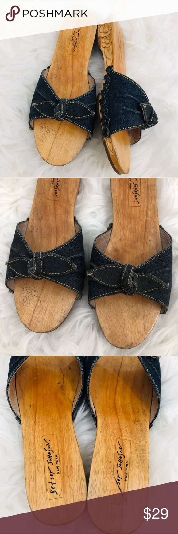 Betsey Johnson Denim Bow Flowers Wood Carved Flats Beautiful, authentic, and collectible 90s vintage...