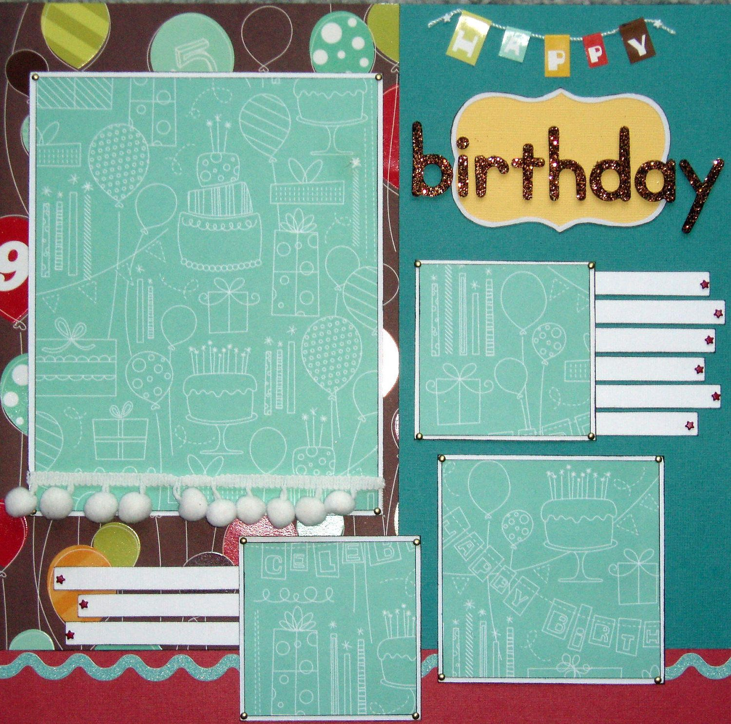 Scrapbook layouts images 12x12 custom premade scrapbook layout birthday by ntvimage on etsy - Scrapbooking idees pages ...