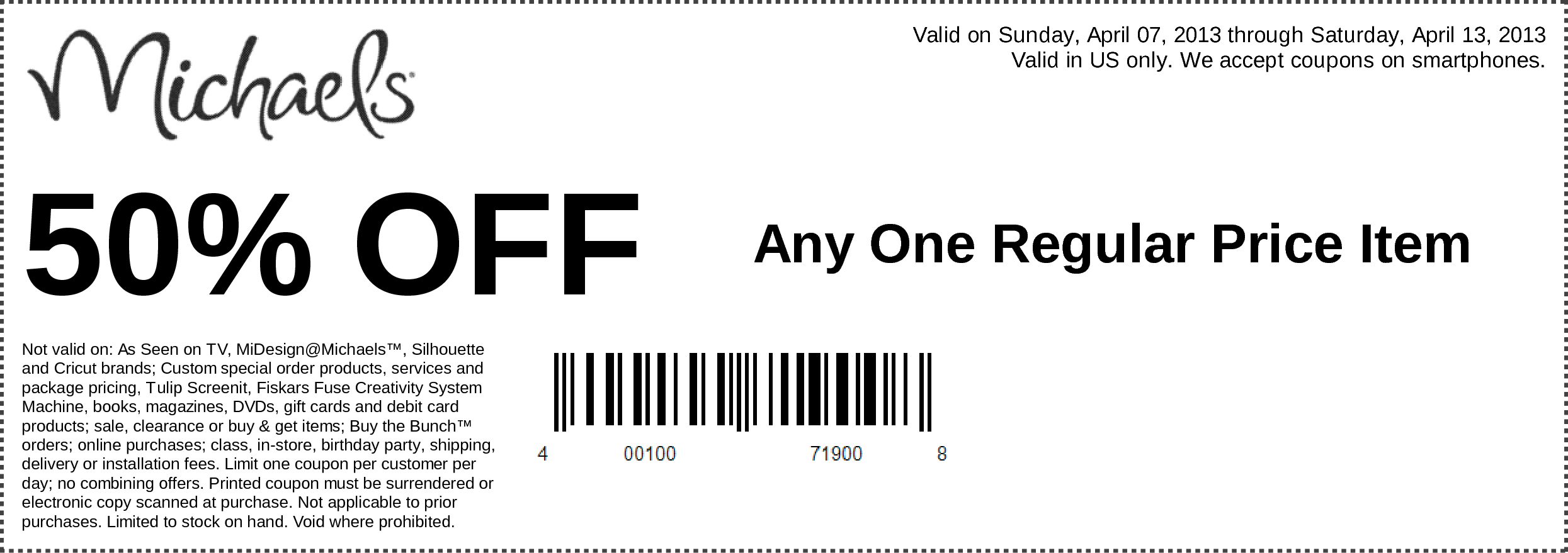 Great coupons from Michael\'s! 50% off any regular priced item AND 50 ...