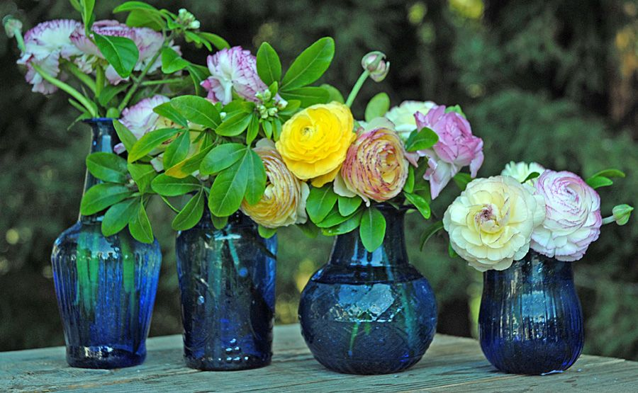 Cobalt Blue Glass Vases for small, thick bunches from the garden