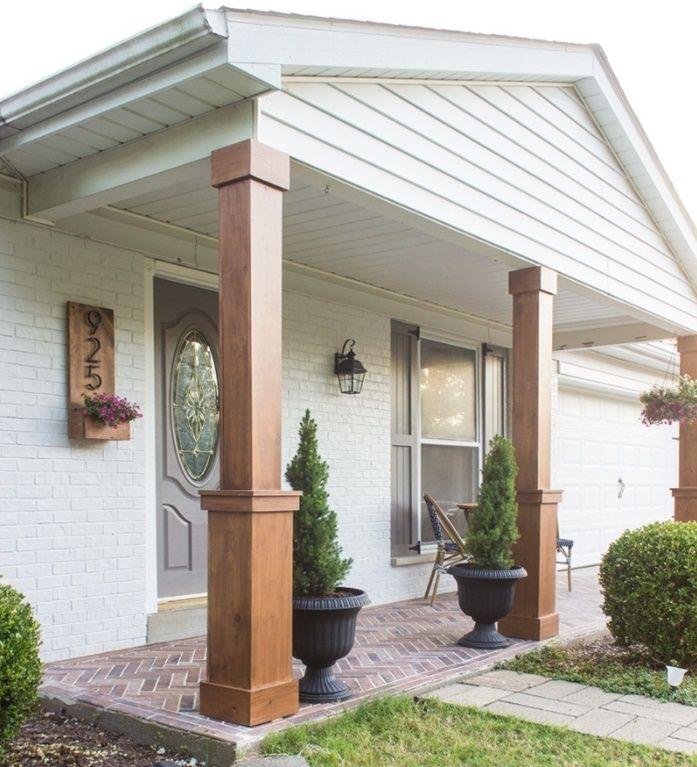 Porches Con Columnas Cuadradas Diseno Del Porche Frontal Disenos De Porche Porches De Casas