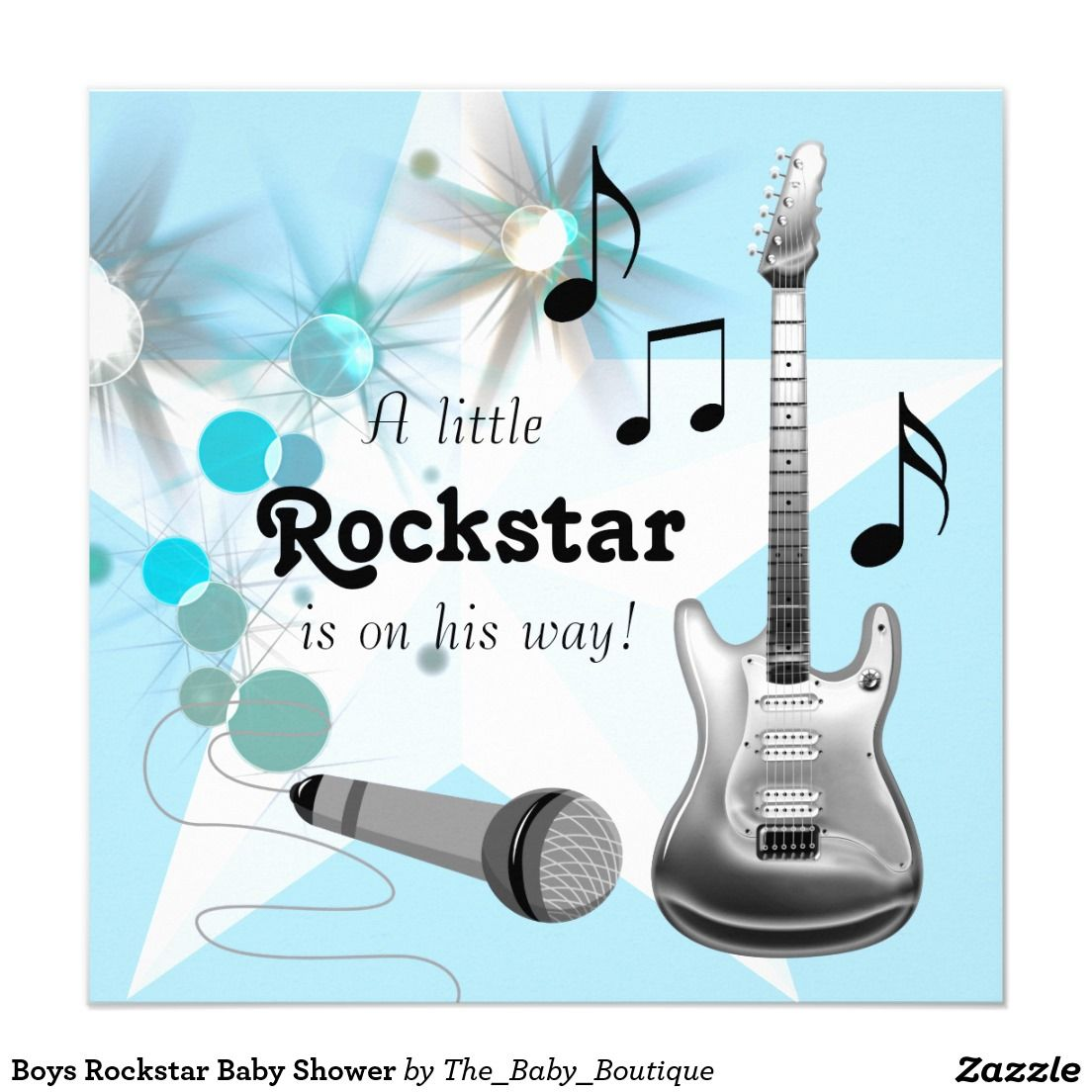 Boys Rockstar Baby Shower Card   Shower invitations and Boy baby showers