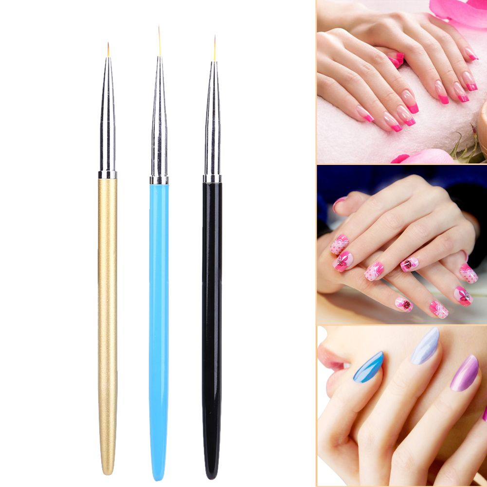 3pcs/Set Nail Art Brush Professional Painting Drawing Pen Pinceis Salon Liner Brush Manicure Tools GUB#