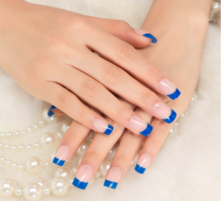 Women 24 PCs fashion nail art full false artificial fake nails tips ...