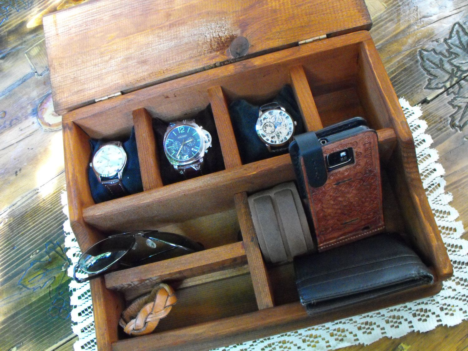 Rustic Watch Box Watch Case Rustic Large Watch Valet Compartment