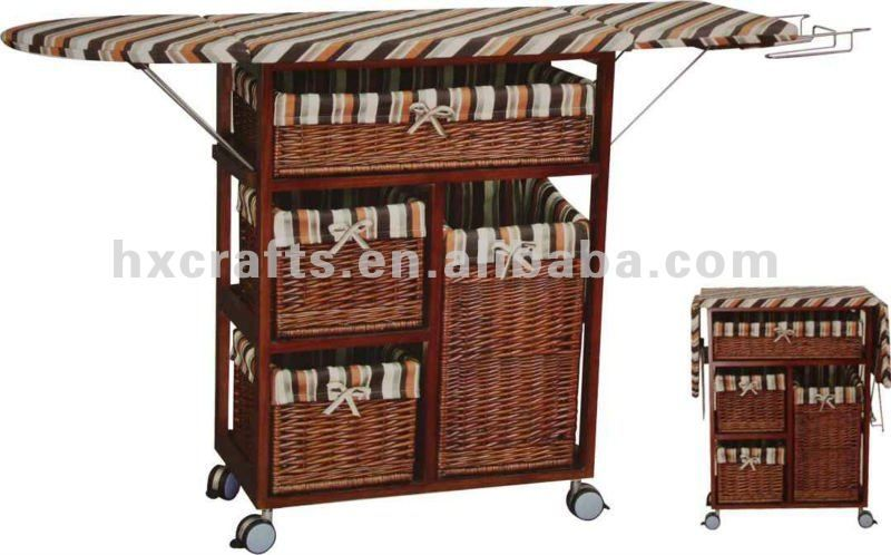 Foldable Wooden Storage Ironing Board In Cabinet