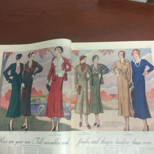 Pictorial Review Fashion Book, Autumn 1932 featuring Pictorial 6170, 6166 and 6152 (from Mainbocher) on the left page, 6148 (from Schiaparelli), 6129, 6180 and 6193 on the right page
