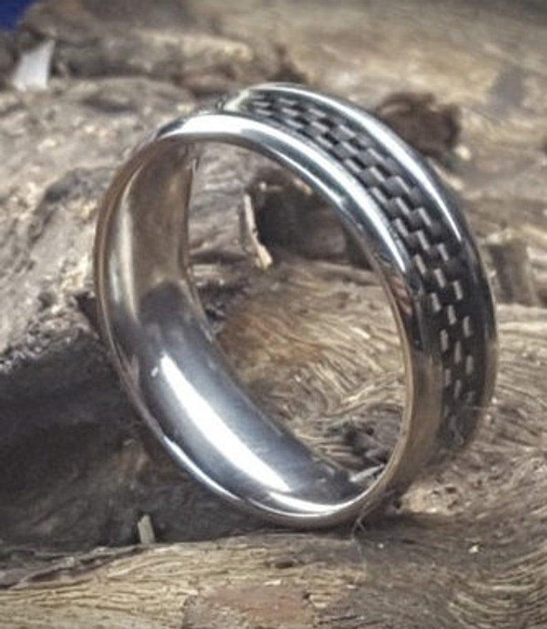 8mm Men's Titanium and Black Carbon Fiber Wedding Ring