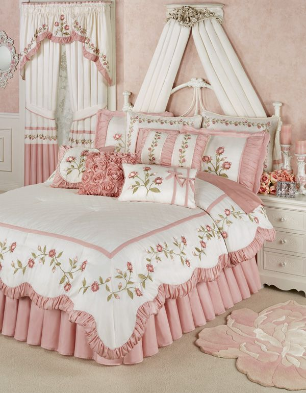 Best Blush Rose Embroidered Floral Comforter Bedding Bed 400 x 300