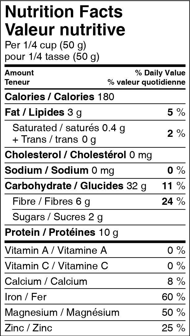 Quinta Quinoa Nutrition Facts. Peach Sorghum Flour, Arrowroot Starch ...