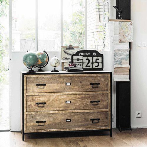 commode indus en manguier massif et m tal l 110 cm accessoires d co meubles pinterest. Black Bedroom Furniture Sets. Home Design Ideas
