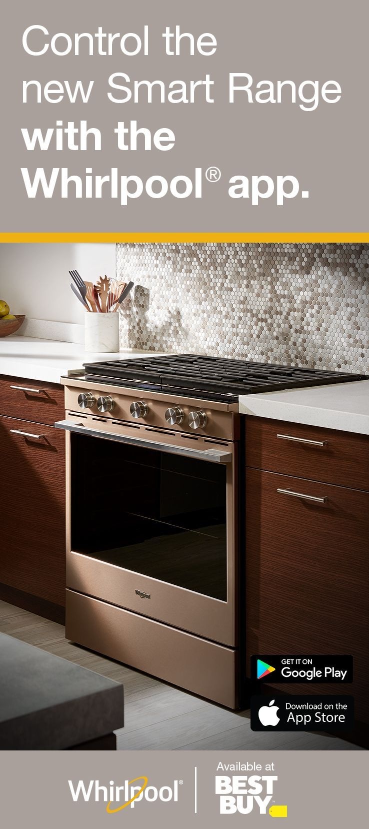 Shop The New Whirlpool Smart Range At Best Buy Wifi App Required Features Subject To Change Details And Privacy Info At Whirlpool Com Conn Home Decor Kitchen Kitchen Remodel Dark Wood Kitchen