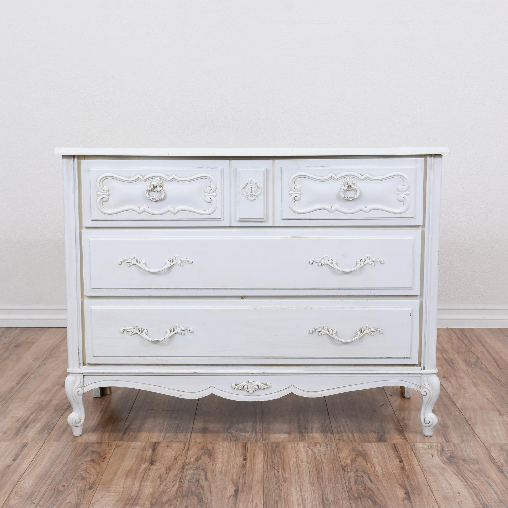 This French Provincial Chest Of Drawers Is Featured In A Solid Wood Painted Fresh