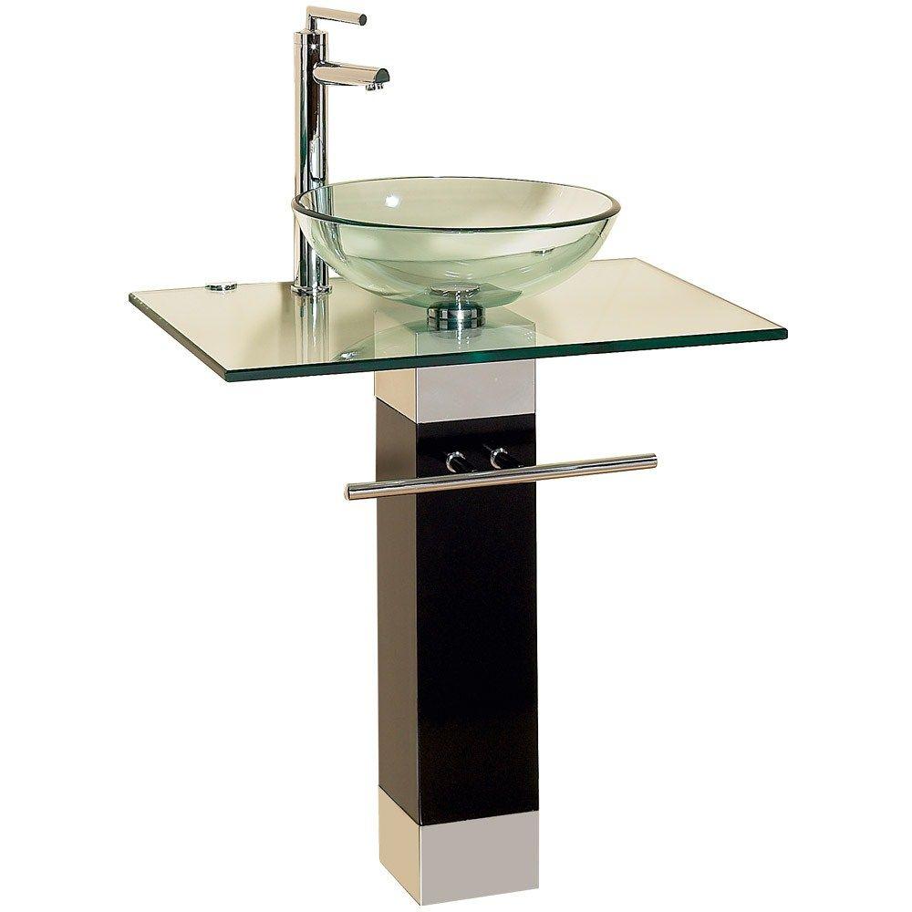 23 Bathroom Vanities Tempered Glass Vessel Sinks Combo Pedestal Wood Base