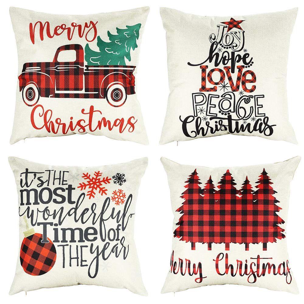 20x20 christmas throw pillow covers set