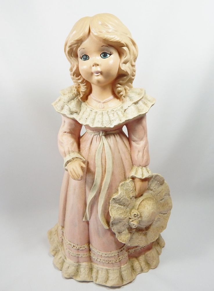 Bisque Ceramic Child Figurine - Girl Holding Hat - Large