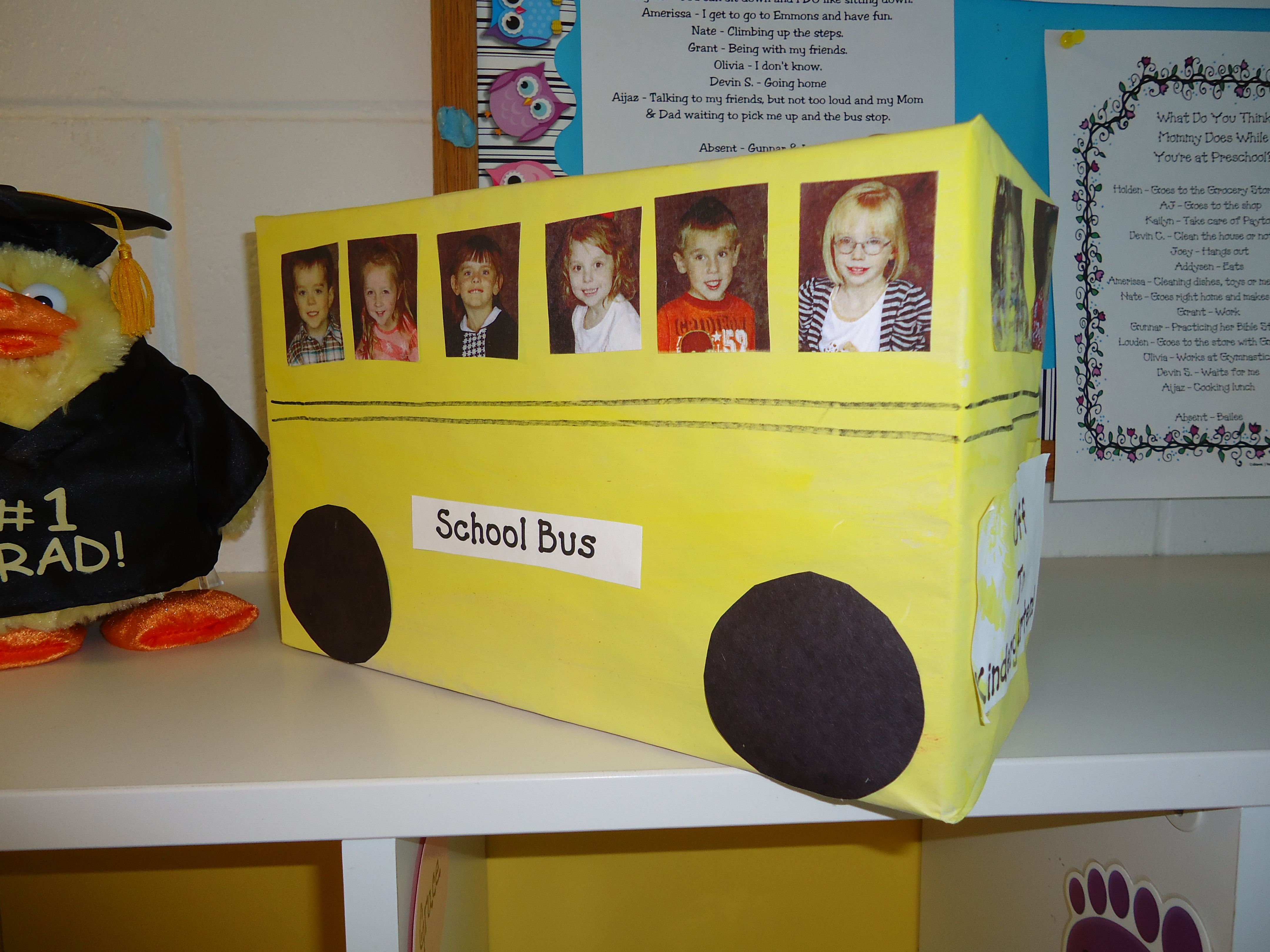 Cover a shoe box with newsprint, paint yellow, add each child ...
