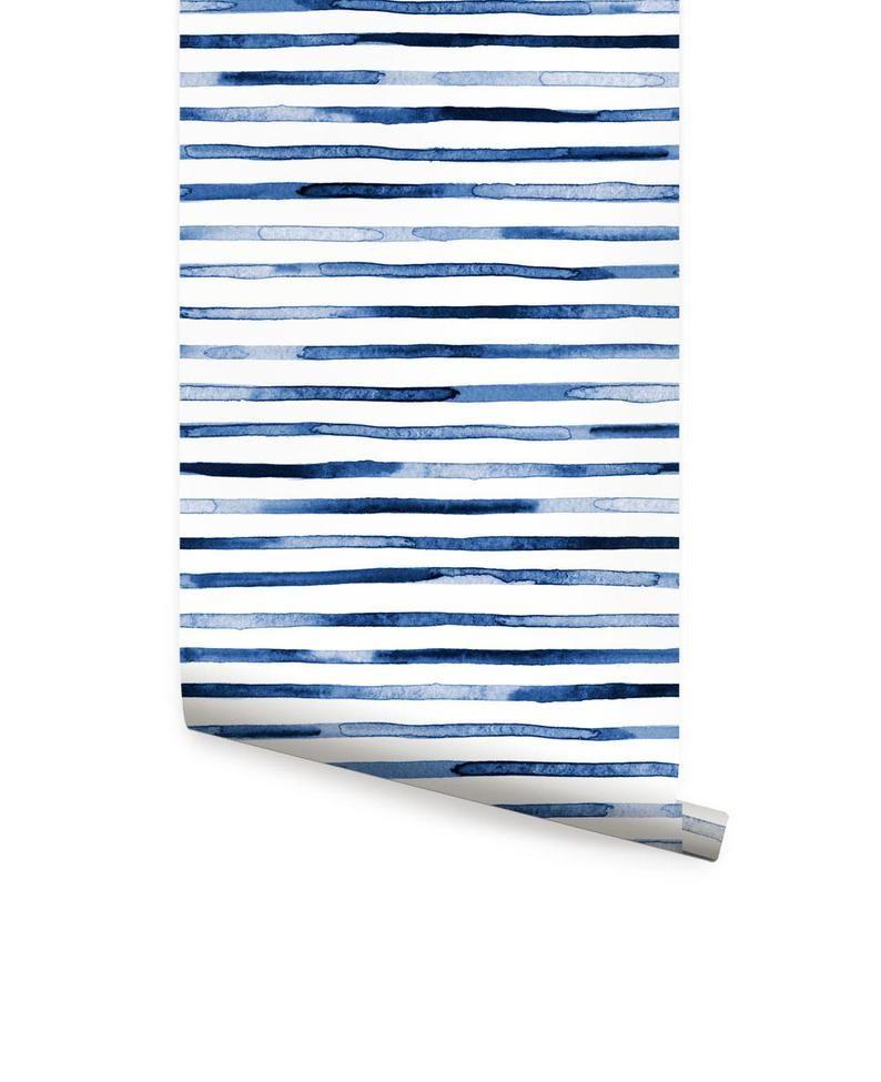 Watercolor Stripes Blue Peel Stick Fabric Wallpaper Etsy In 2021 Fabric Wallpaper Striped Wallpaper Monochrome Interior