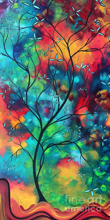 Bold Rich Colorful Landscape Painting Original Art Colored Inspiration By Madart Colorful Landscape Paintings Inspirational Canvas Art Tree Art