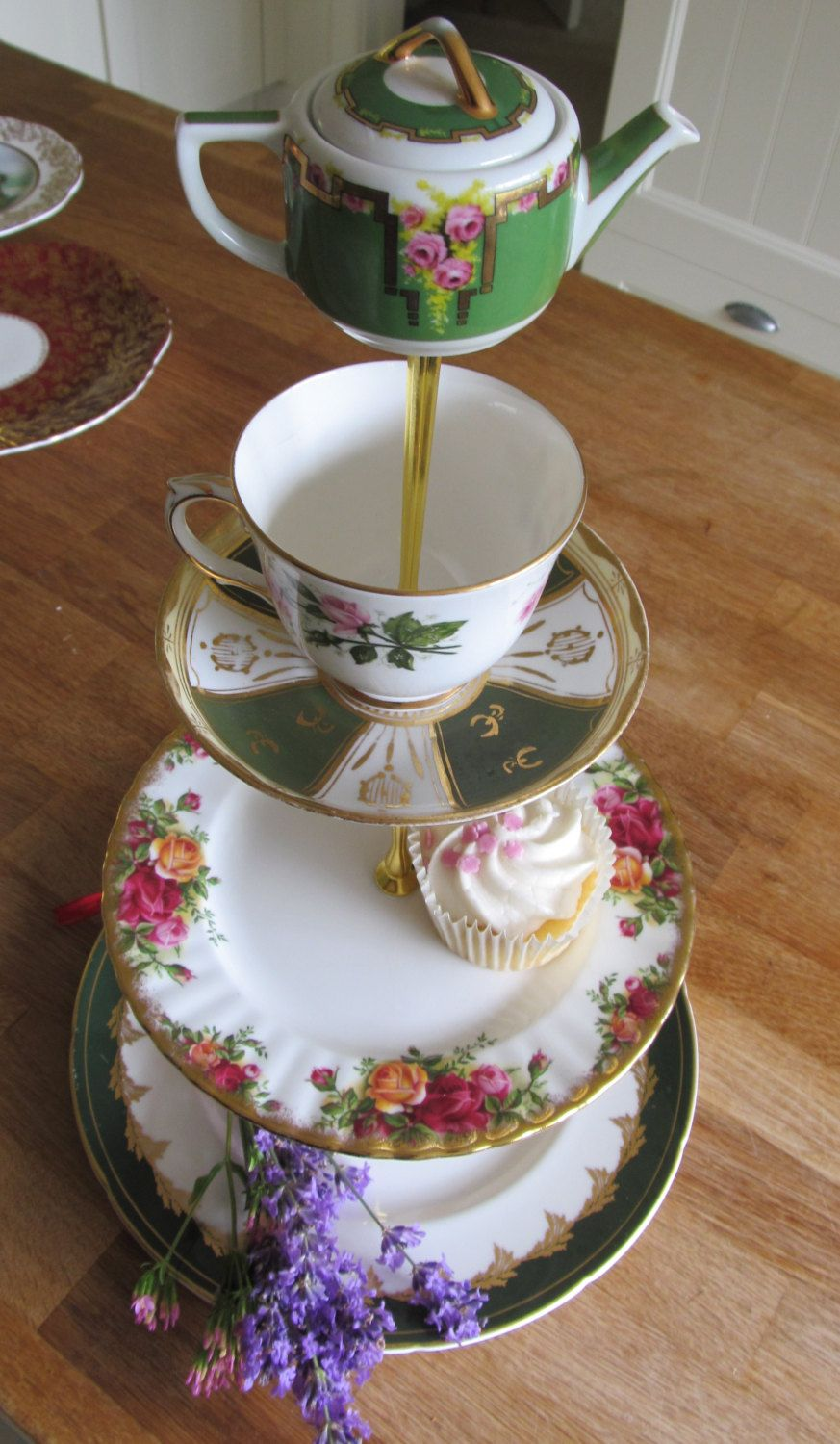 3 tiered cake stand green pink rose gold wedding