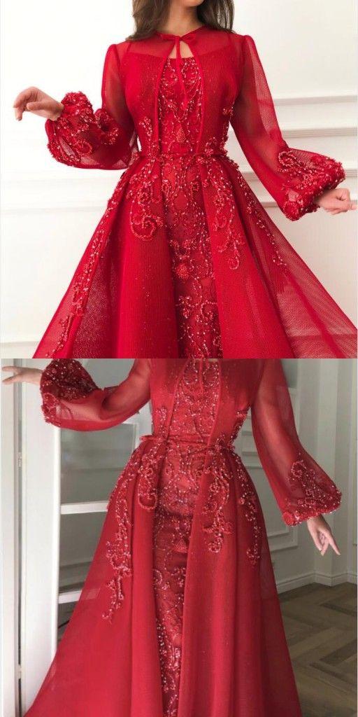 Luxus Abendkleider Mit Ärmel | Rote Abendkleid Lang ...